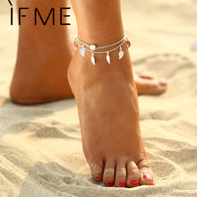 IF ME 2017 New Fashion Bohemian Leaf Anklets For Women Gold Color Link Chin Anklets Bracelets Foot Jewelry Barefoot Sandal Gift(China)