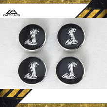 4pcs Hot sale 54mm Mustang Snake Cobra logo car emblem Wheel Center Hub Cap Auto badge covers styling Free shipping