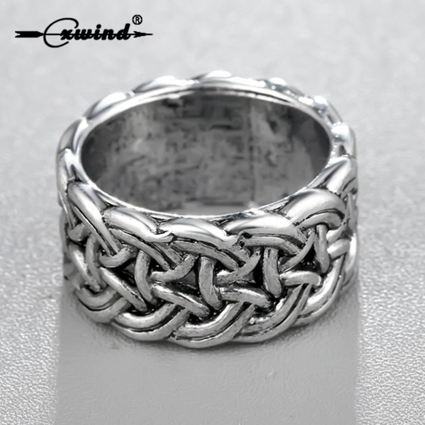 Cxwind Fashion Antique Cross Knot Viking Ring Men Knuckle Classic Engagement Anel Jewelry Rings For Male Party Punk Bijoux 2018