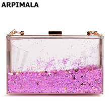 ARPIMALA Summer Evening Bag Transparent Sequins Women Bag Small Gliter Handbags Fashion Chain Party Flap Acrylic Box Crossbody
