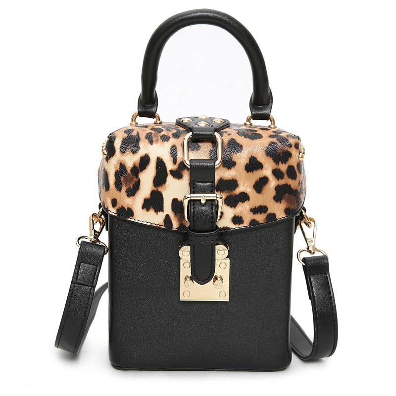 Women Box Bag Leopard Black Small Square Shoulder bags Fashion Handbag Fresh totes Europe United States Style Lock Closed Clutch<br><br>Aliexpress