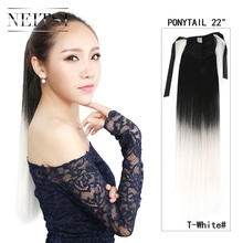 "Neitsi Synthetic White Ombre Pony Tail Hair Extensions 22"" Straight Women Girl's Clip In Ponytails Hair Piece Fast Shipping"