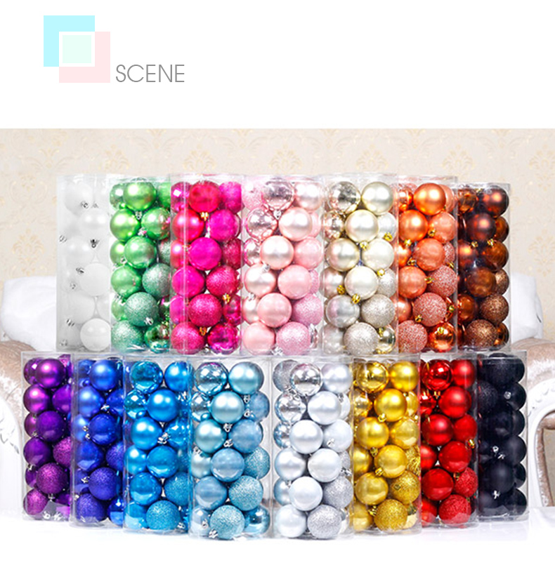 10 inhoo 24PCSset Christmas ornament 468cm Christmas Tree Balls Baubles Xmas for Home Party Colorful Wedding Decoration Supplies