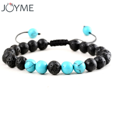 Armband Vintage Boho Natural Stone Beads Bracelets Men Women Black Lava Healing Balance Prayer Yoga Bracelet Adjustable Rope(China)