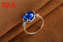 Long Baolong 925 Sterling Silver Jewelry Silver Garnet blue jade ring retro new lady Ruby Ring