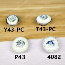 Rural Style white Ceramic Single knob  Kitchen Furniture handle  cabinet drawer pulls  with blue flower print