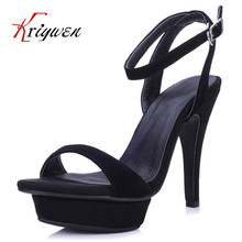 2016 Fashion Ankle Strap Sandals kid suede sexy lady eur women Solid Color Summer Sandals ultra Thin High Heels club party Shoes