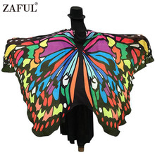 ZAFUL Brand 2017 Women Scarf Shawl Wrap Gifts Butterfly Wing Cape Scarf Peacock Novelty Color Scarves Womens Pashmina Wholesale(China)