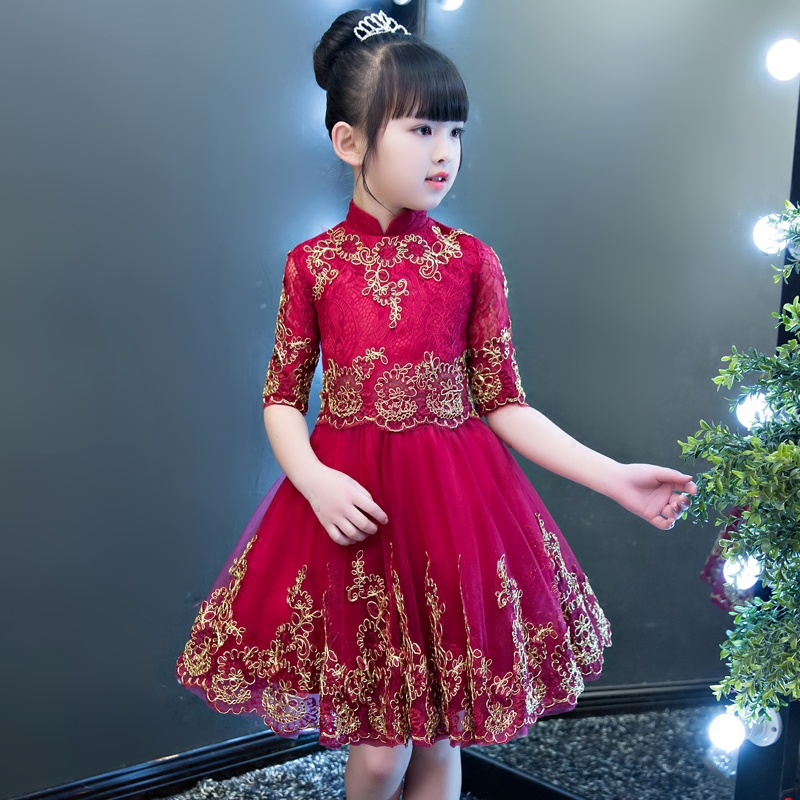 2019 Children Girls Luxury Elegant Wine-Red Color New Year Ball Gown Mesh Dress Babies Half Sleeves Birthday Wedding Party Dress