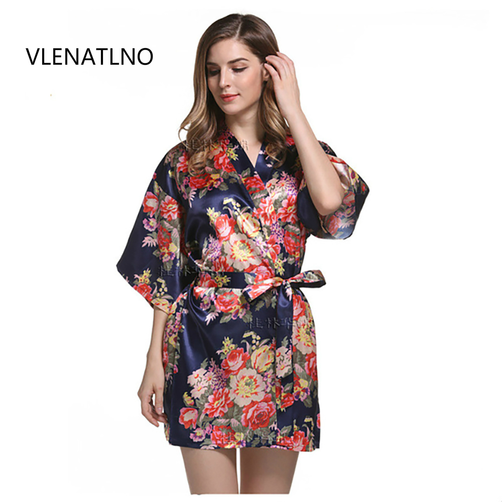 Silk Bridesmaid Bride Robe Sexy Women Short Satin Wedding Kimono Robes  Sleepwear Nightgown Dress Woman Bathrobe Floral robe 77561ba56b7a