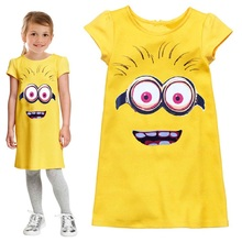 Minions Girls Dresses Despicable me Children One Piece Dress baby girl clothes yellow Sundresses Gown Princess Costume Blouse