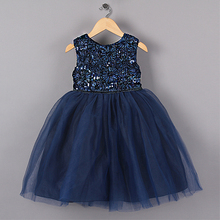 New Blue Princess Girl Party Dresses Flower Sequined Tutu style Wedding Dress for Christmas girls clothes 3-7 years(China)