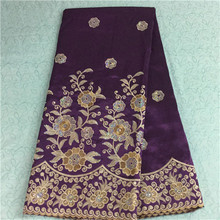 Nice looking flower pattern purple African george lace fabric with sequins for party dress BG8-5(5yards/pc)