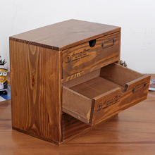 Wooden Storage Cabinet Storage Box Desktop Finishing Showcase Wooden Crafts Desktop Storage Box Household Storage Boxes Hot