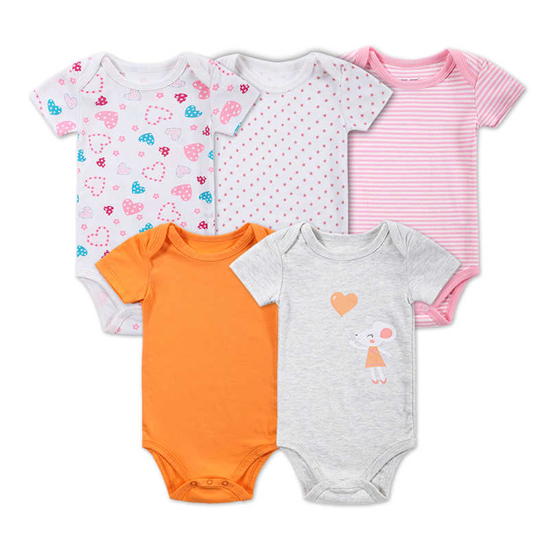 0a882b1c622 5 Pieces lot Baby Girl Clothes Baby Bodysuit Infant Jumpsuit Overall Short  Sleeve Body Suit