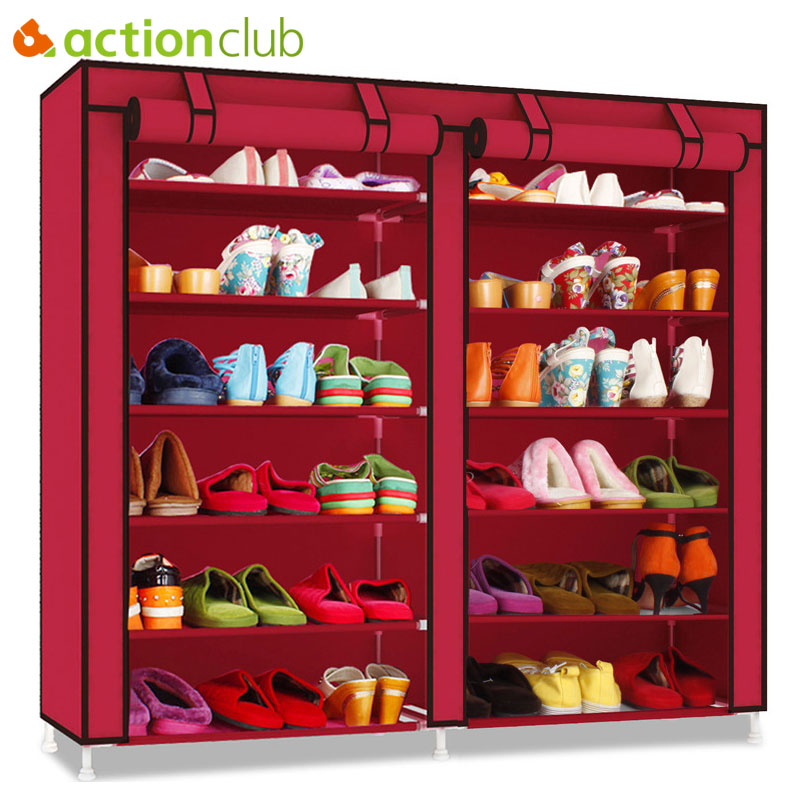 Actionclub Double Row Multi-layer Minimalist Oxford Cloth Shoe Cabinet Dustproof Moistureproof Shoe Organizer Shelves Furniture<br>