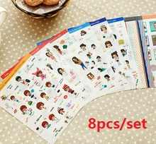 Wholesale 8PC. set Korea Girl series Diary Sticker Set.diy fun. PVC stickers student tool school office use Office school suppli