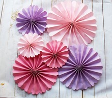 6pcs Pink and Purple Party Paper Fans, Hanging Pinwheel Decor, Wedding Backdrop, Bridal Shower Supplies