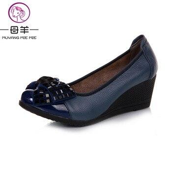 2017 nouvelle mode haute talons femmes pompes, femmes véritable compensées en cuir chaussures femme simples casual chaussures femmes chaussures