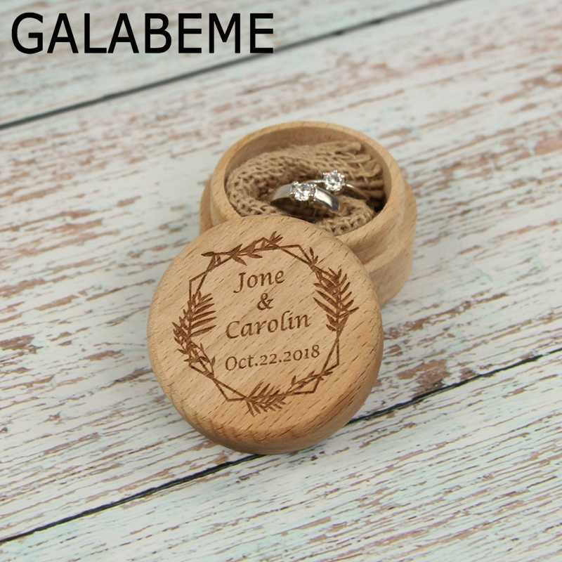 Custom name date Rustic Wedding Ring Bearer Engraved logo Wood Round Ring Box Wedding Ring Box Wooden Personalized Ring Box