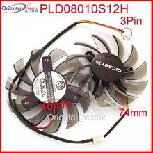 Free Shipping 2pcs/lot PLD08010S12H 3Pin 74mm DC12V 0.25A 40*40*40mm For GIGABYTE Graphics Card Cooler Cooling Fan(China)