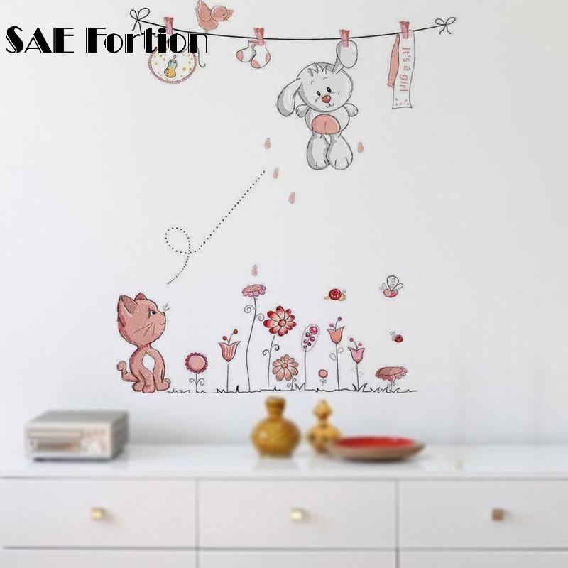 SAE Fortion Wall Sticker Girls Bedroom Decor Cute Beautiful Eyes Eyelash Pattern Wall Decal Sticker Baby Girls Room Decoration