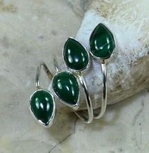 Hand make  Nature  Malachite Ring 925 Sterling Silver, 4.7G, Size: Adjustable,  Gift BOX