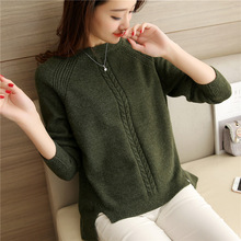 Autumn New Women Vintage Twist Split Sweater Womens Army Green Sweaters & Pullovers Femme Tricot Pull Jersey Jumper Tops(China)