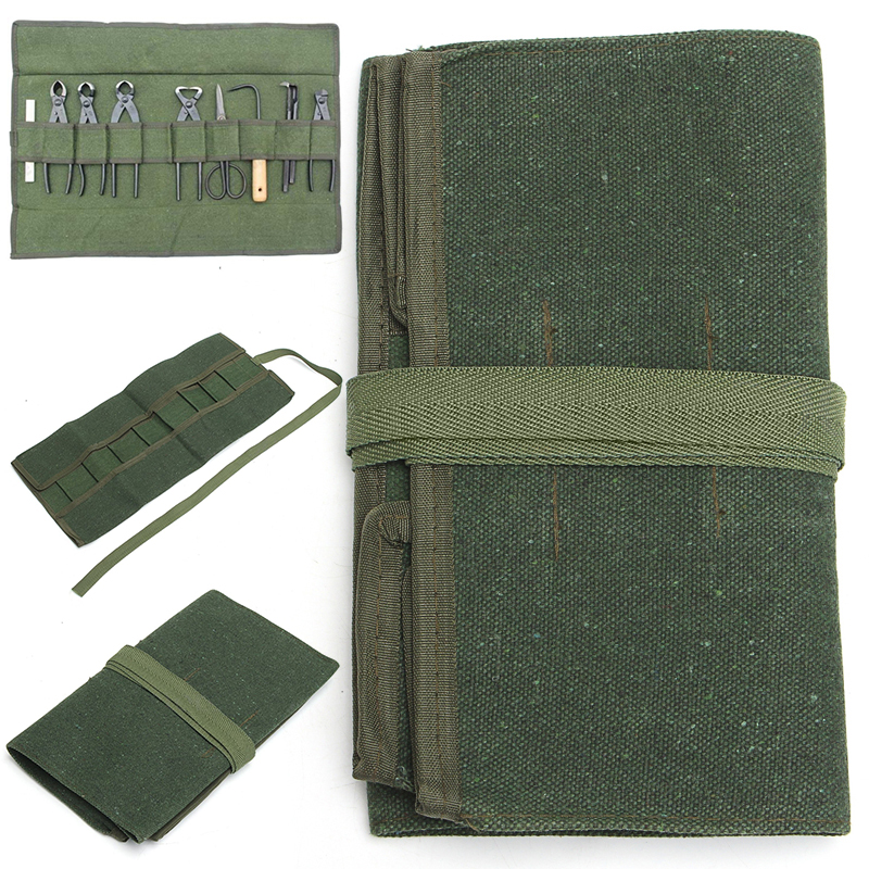 Army Green Japanese Bonsai Storage Package Roll Bag Garden Repair Tool Pliers Scissors Canvas Tool Set Case Storage Bags