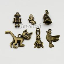 Tibetan Style Alloy the house of magic Pendants, bird,cat, mouse, robot,rabbit,phonograph,Mixed Style, Lead Free & Nickel Free,
