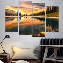 Painting Style Wall Modular Pictures For Living Room 4 Panel Fire Sky Forest Art Canvas Cuadros Modern Framework Decoration(China)