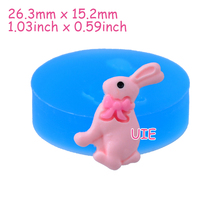 DYL426U 26.3mm Rabbit / Bunny with Bow Silicone Mold - Animal Mold Cake Decoration, Fondant, Cookie Biscuit, Resin, Candy, Icing
