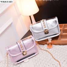 women mini transparent clear jelly purses and handbags bolsos de pvc flag gold chain lock rivet satchel candy tote shoulder bags