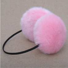 1 PCS Fashion warm rabbit fur earmuffs Autumn winter women warm earmuffs Christmas gifts multicolor(China)