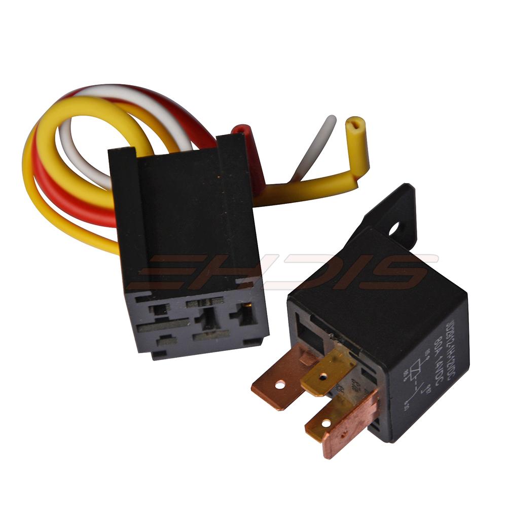 Kh 5 Set Waterproof Car Relay Harness Socket 12v 24v 4pin 4 Wire 80a Pin Automotive Heavy Duty On Off Open Spst Plug