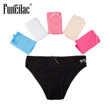 Buy FUNCILAC Brand Lace Women Underwear Cotton Seamless Panties Solid Ladies Panty Lingerie Sexy Knickers Briefs Fashion 5pcs/lot