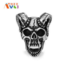 AMGJek 31mm Hell Devil Head Ring Skull With Cow Horn Men Rings Titanium Steel Punk Jewelry Halloween Gift For Men F085