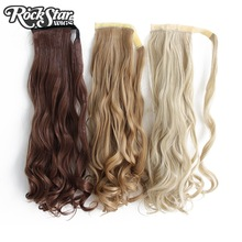 Rockstar Wigs 9Colors Long Wavy Clip in Synthetic Hair Ponytail Heat Resistant Fiber Black Fake Hairpiece(China)