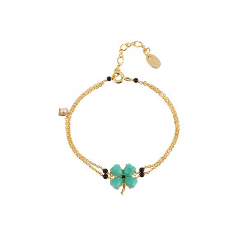 Four Leaf Flowers Bracelet Enamel Blue Clover Bangles For Women Cute Simple Enamel Party Jewelry(China (Mainland))