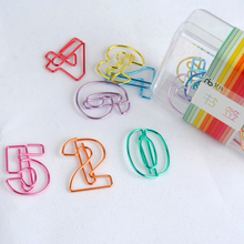 1sets(10pcs)plated Colored Paper Clips Office Supplies Numbers Pin Metal Sliver Bookmarks Stationery Gift Book Line Marker(China)