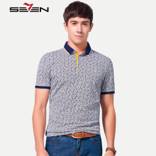 Seven7 Men Casual Polo Shirts Flowers Pattern All Over Print Slim Short Sleeve Performance Breathable Polo Shirts 110T50550