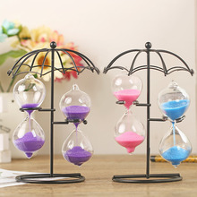 Home Table Tea Decoration Craft Iron Frame Sand Glass Hourglass Sand Timer Clock Sandglass For Friends Kids Toys Birthday Gift(China)