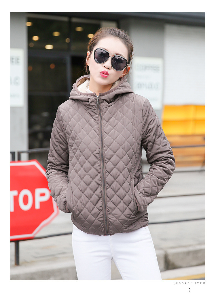 Autumn 2018 New Parkas basic jackets Female Women Winter plus velvet lamb hooded Coats Cotton Winter Jacket Womens Outwear coat 27