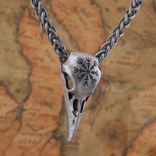 Dropshiping Viking Helm of Awe Raven skull Pendant necklace by Alchemy Gothic