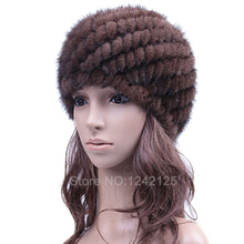 New special parent-child promotion women autumn winter genuine leather knitted striped warm real mink fur weave hat cap headgear