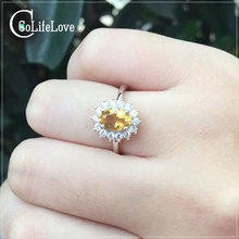 Classic noble jewelry Princess Diana's ring genuine yellow crystal silver ring wedding ring for woman natural citrine ring