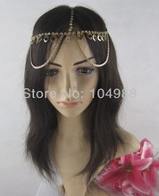 FREE SHIPPING 2014 Style HE17 NEW BRIDE FASHION LOVE HEART GOLD RHINESTONES CIRCLET HEAD CHAIN NECKLACE JEWELRY