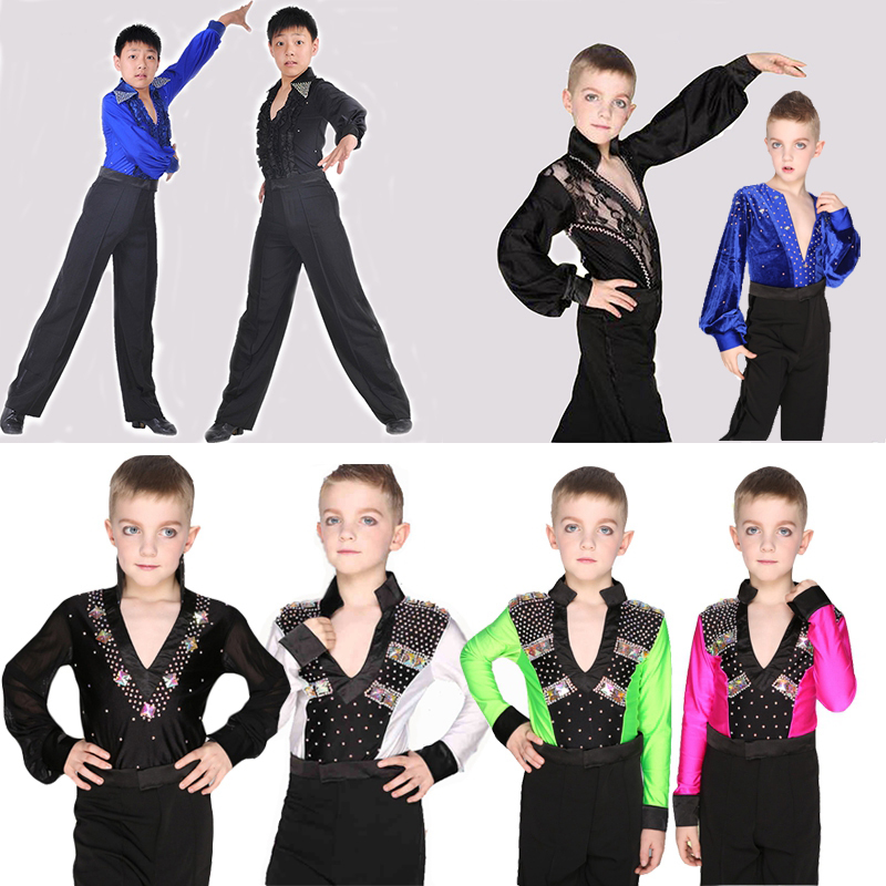 Child Ballroom Dance Tops Boys Latin Dance Shirt Leotard Stage & Dance Wear For Boys