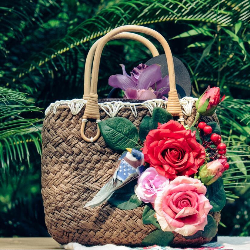 Free shipping original design Forest style DIY hand Birds and roses Grass weaving handbag<br><br>Aliexpress