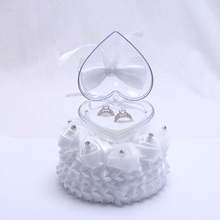 New Wedding Favors Ring Pillow with Jewelry Box Mini Round Cake Design Rhinestone Ribbon Bow Wedding Decoration Ring Cushion(China)